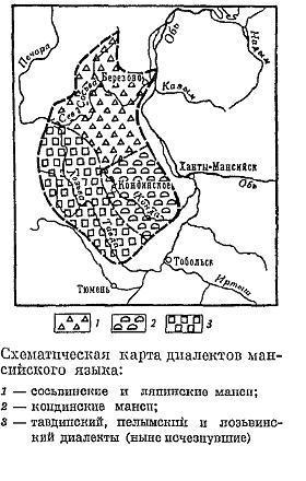 карта диалектов мансийского языка